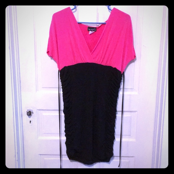 Say Anything Dresses & Skirts - Say Anything Pink and Black Stretchy Dress